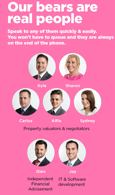 Our bears are real people - Estate agent team