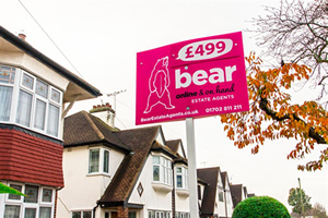 "Picture of Bear Shouts ""Sell my House"""